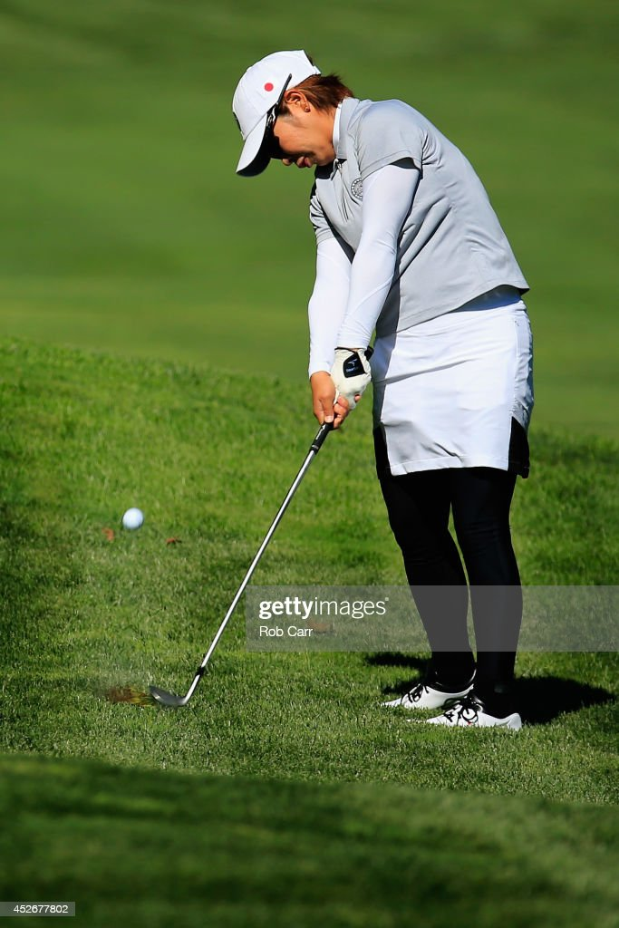 Mamiko Higa of Japan hits her second shot to the 1st green during round two of the International Crown on July 25 2014 in Owings Mills Maryland