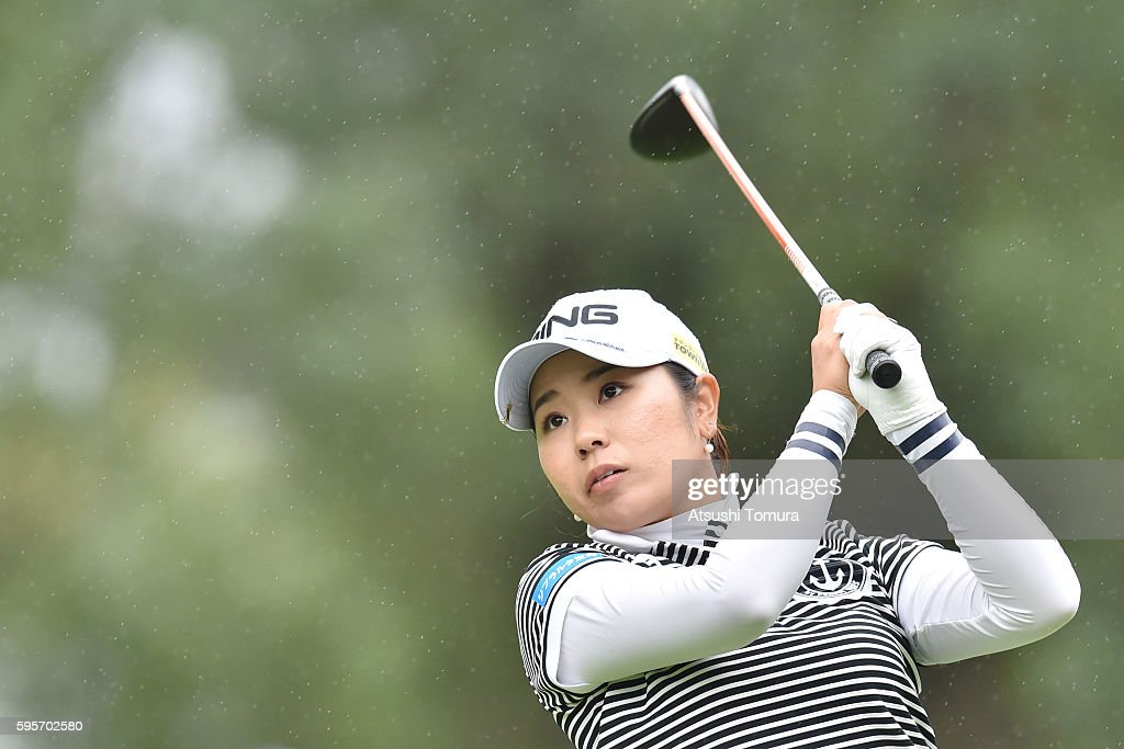 Mamiko Higa of Japan hits her tee shot on the 18th hole during the second round of the Nitori Ladies 2016 at the Otaru Country Club on August 26 2016...