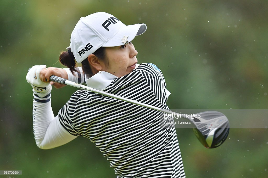 Mamiko Higa of Japan hits her tee shot on the 1st hole during the second round of the Nitori Ladies 2016 at the Otaru Country Club on August 26 2016...