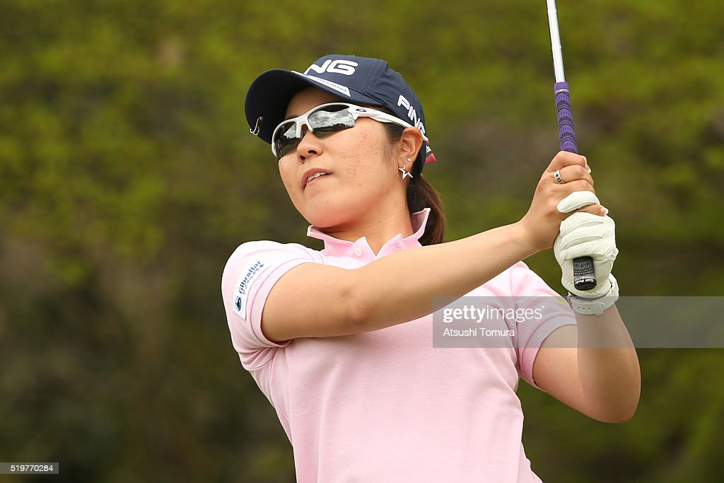 Mamiko Higa of Japan hits her tee shot on the 3rd hole during the first round of the Studio Alice Open at the Hanayashiki Golf Club Yokawa Course on...