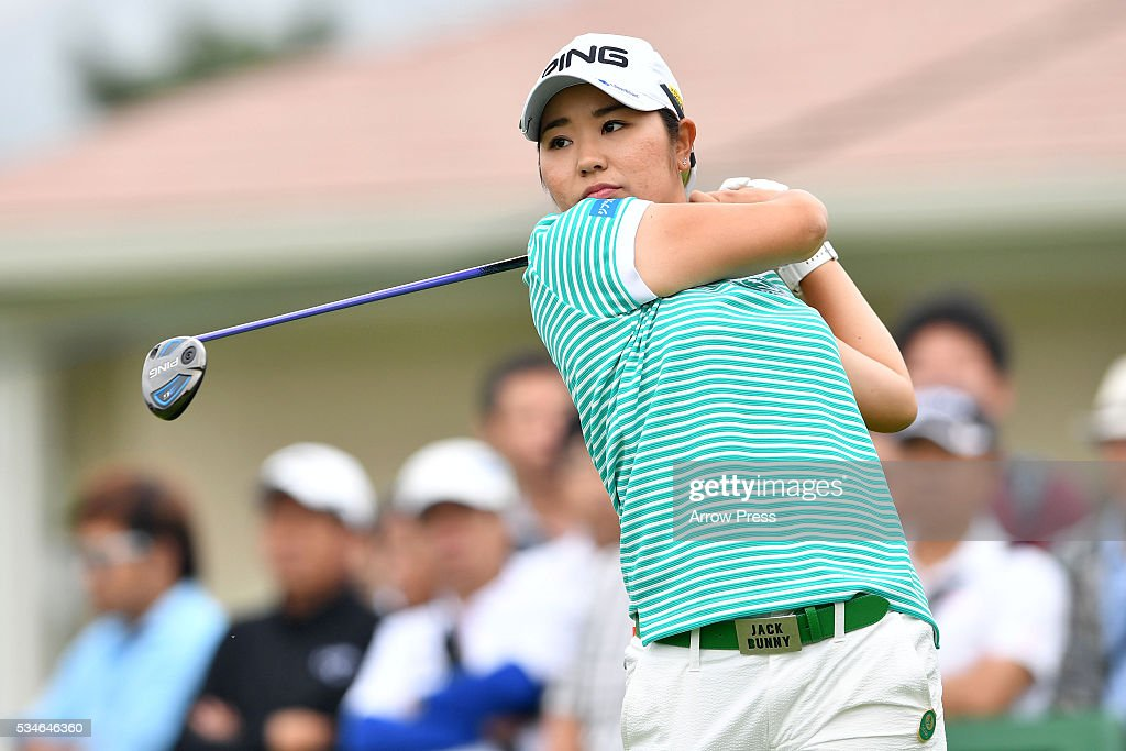 Mamiko Higa of Japan hits her tee shot on the the 1st hole during the first round of the Resorttrust Ladies at the Grandee Naruto Golf Club XIV on...