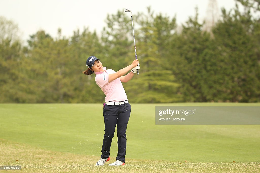 Mamiko Higa of Japan hits her third shot on the 17th hole during the first round of the Studio Alice Open at the Hanayashiki Golf Club Yokawa Course...