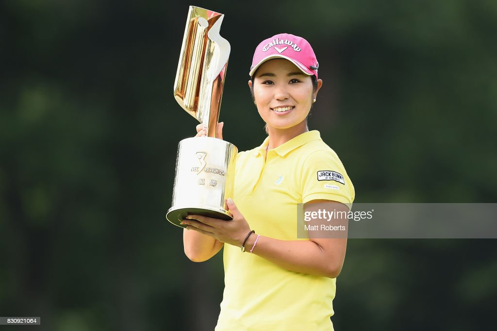 Mamiko Higa of Japan holds the winner trophy during the final round of the NEC Karuizawa 72 Golf Tournament 2017 at the Karuizawa 72 Golf North Course on August 13, 2017 in Karuizawa, Nagano, Japan.