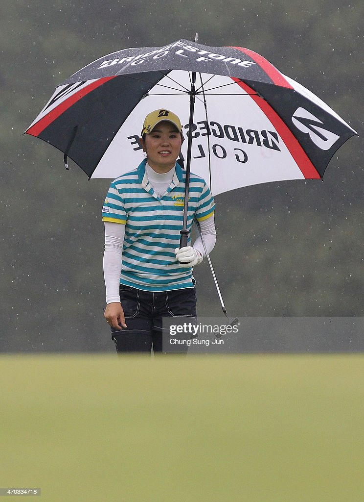 Mamiko Higa of Japan in the final round during the KKT Cup Vantelin Ladies Open at the Kumamoto Airport Country Club on April 19 2015 in Kikuyo Japan