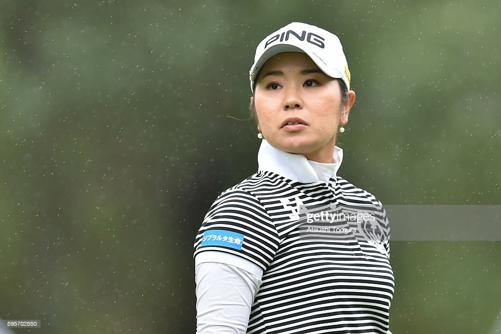 Mamiko Higa of Japan looks on during the second round of the Nitori Ladies 2016 at the Otaru Country Club on August 26 2016 in Otaru Japan