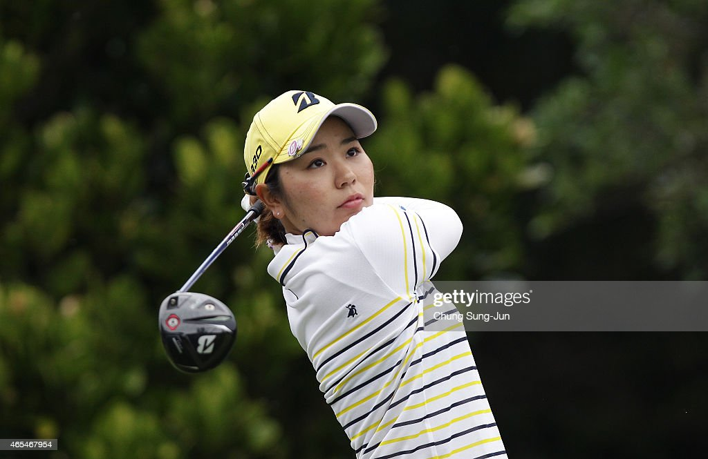 Mamiko Higa of Japan plays a tee shot during the second round of the Daikin Orchid Ladies Golf Tournament at the Ryukyu Golf Club on March 7 2015 in...