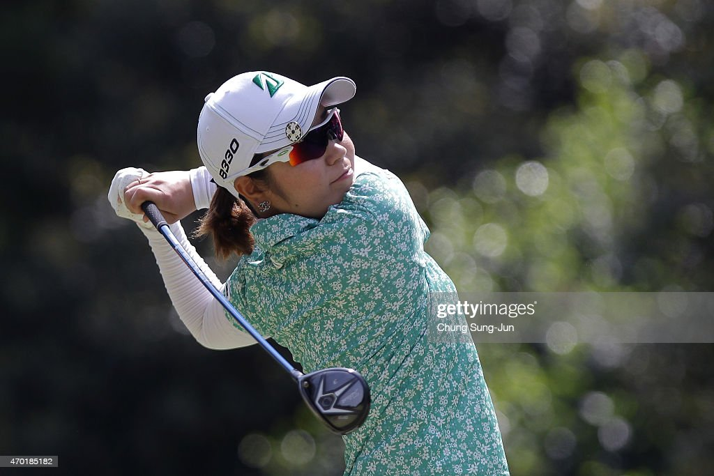 Mamiko Higa of Japan plays a tee shot in the second round during the KKT Cup Vantelin Ladies Open at the Kumamoto Airport Country Club on April 18...