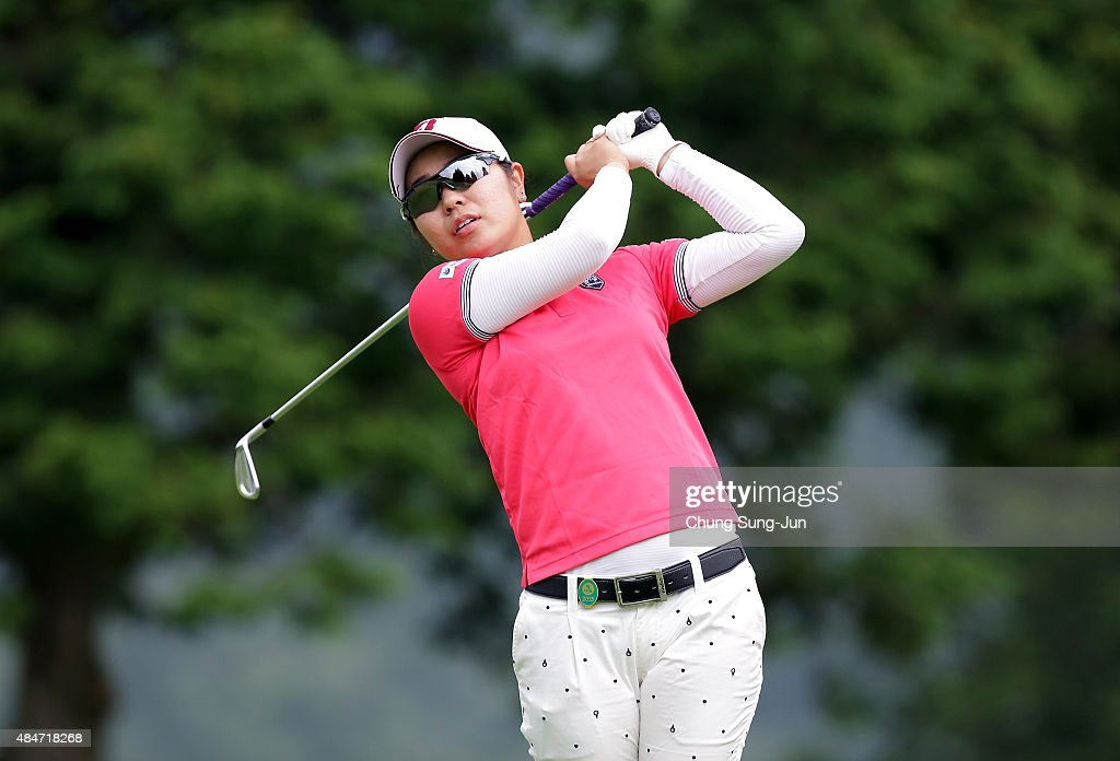 Mamiko Higa of Japan plays a tee shot on the fifth hole during the first round of the CAT Ladies Golf Tournament HAKONE JAPAN 2015 at the Daihakone...