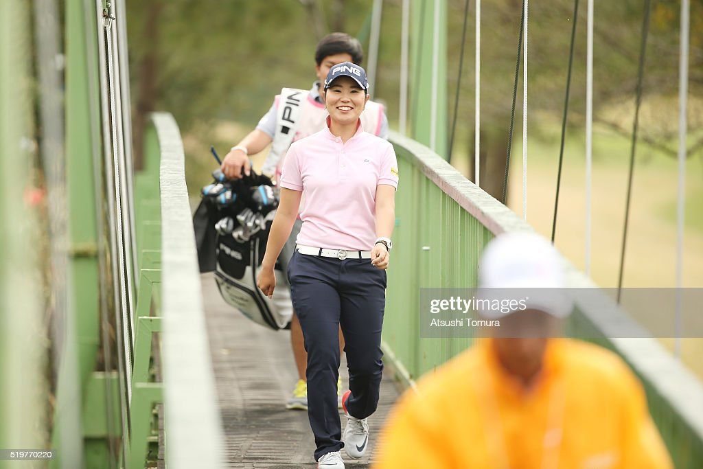 Mamiko Higa of Japan smiles during the first round of the Studio Alice Open at the Hanayashiki Golf Club Yokawa Course on April 8 2016 in Miki Japan