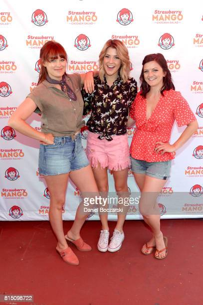 Mamrie Hart Grace Helbig and Joselyn Hughes freshen up at Wendy's ReFresh Tent during Pitchfork Music Festival on July 15 2017 in Chicago Illinois