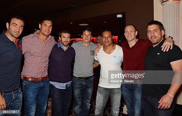Mamuka Gorgodze Juandre Kruger Brock James Francois TrinhDuc Ti'i Paulo Mike Tindall and Julien Brugnaut of The Barbarians attend the launch of the...