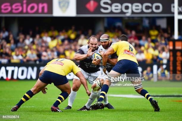 Mamuka Gorgodze of Toulon Raphael Chaume and Damien Chouly of Clermont during the Top 14 match between Clermont and Toulon on September 3 2017 in...