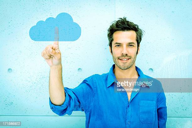 Man accessing cloud computing system