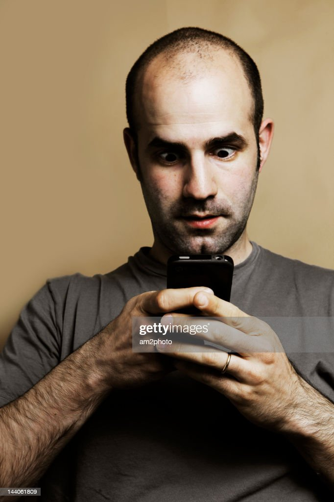 Man addicted to mobile : Stock Photo