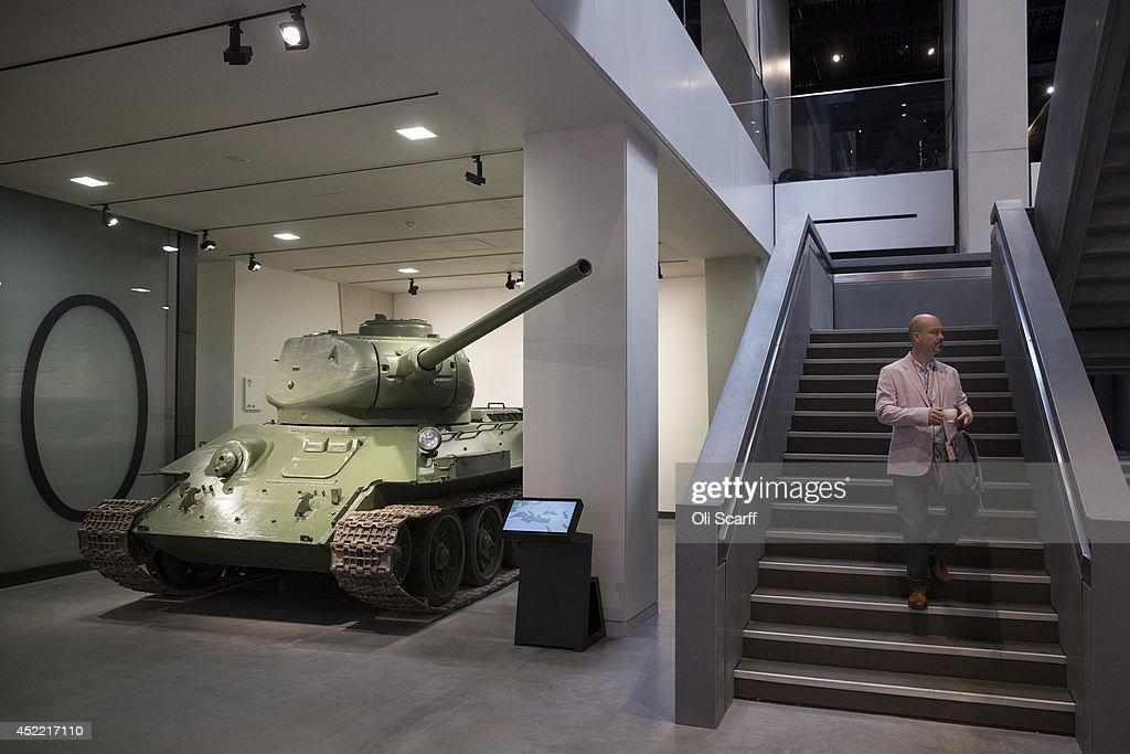 A man admires the exhibitions in the Imperial War Museum on July 16, 2014 in London, England. The new World War One galleries at the Imperial War Museum are due to open on July 16, 2014 after a 40 million GBP refurbishment. The galleries will tell the story of the First World War, how it started, why it continued and its global impact. The exhibition features iconic objects including a Harrier jet, a Spitfire and a V2 rocket.