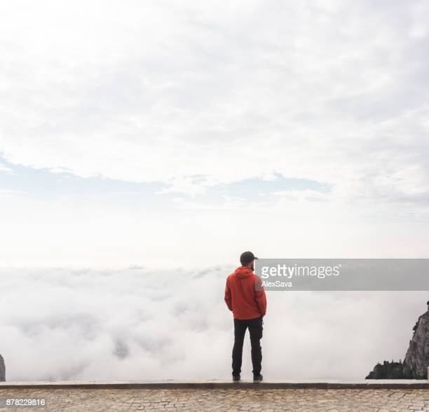 Man admiring the cloudscape from high altitude