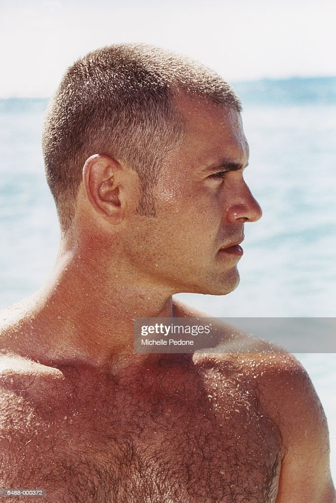 Man After Swimming in the Sea : Stock Photo