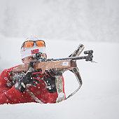 Man aims to fire biathlon rifle
