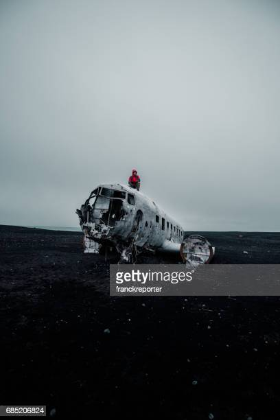Man alone on the airplane wreck in iceland