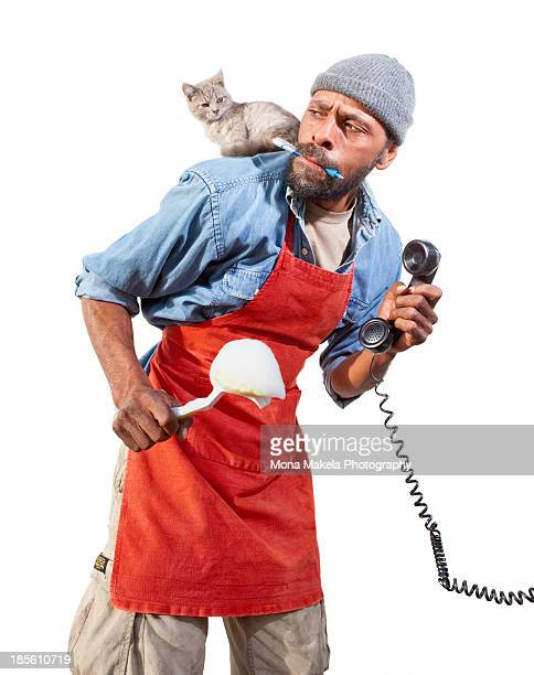 Man and a cat having a disagreement