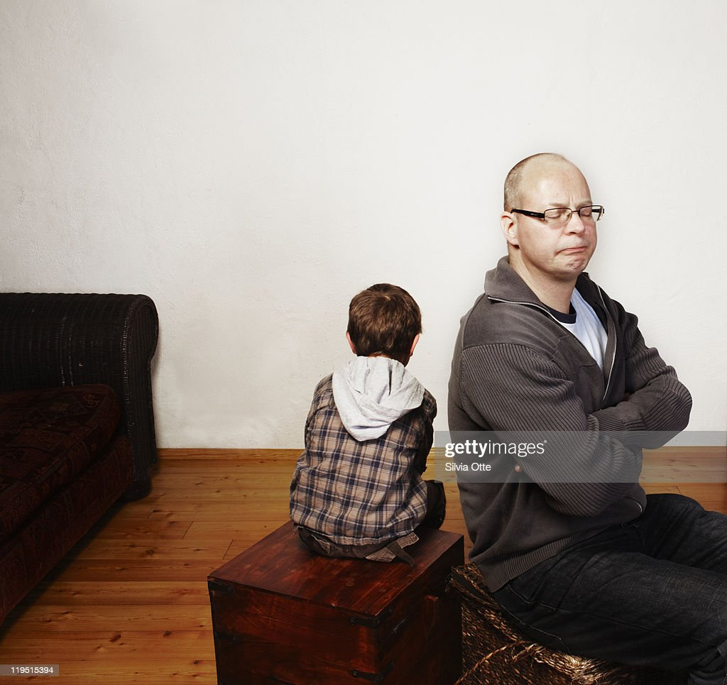 man and boy pouting : Stock Photo