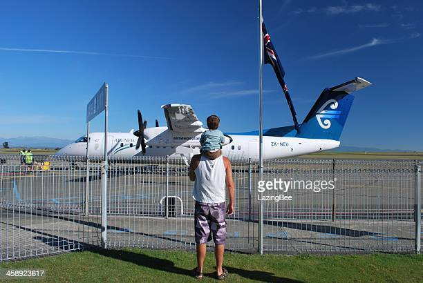 Man and Boy with an Air New Zealand Aeroplane