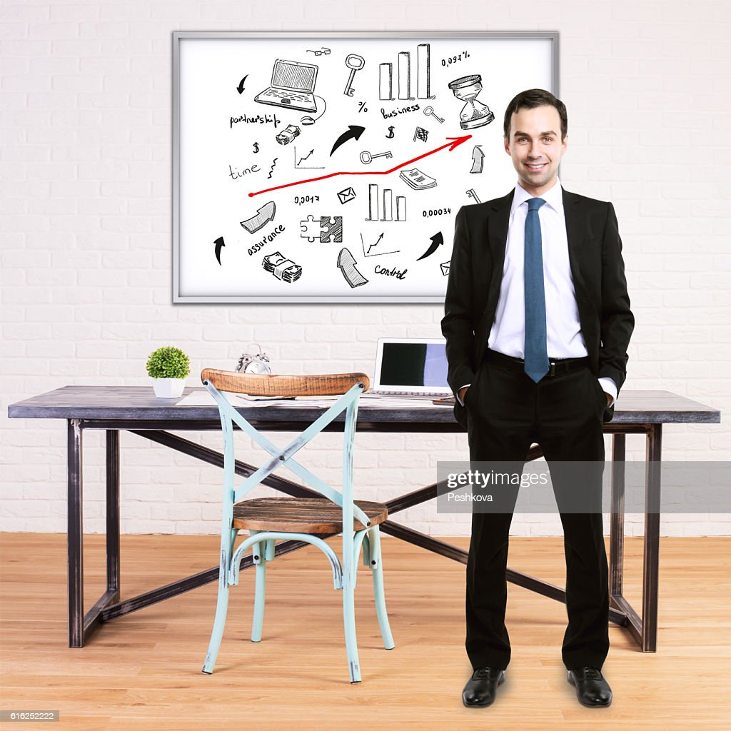 Man and business sketch : Stock Photo
