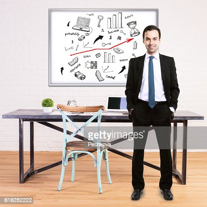 Man and business sketch : Foto de stock