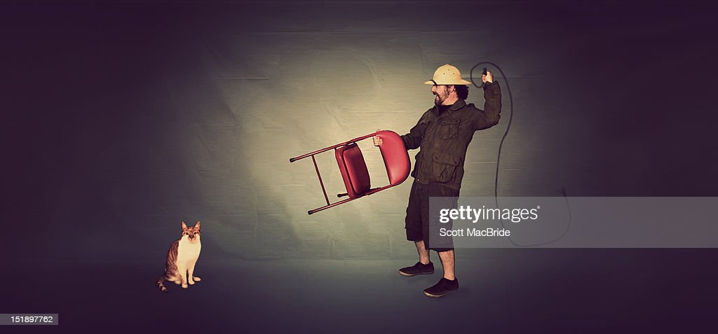 Man and cat : Stock Photo