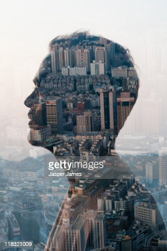 man and cityscape,double exposure : Stock Photo