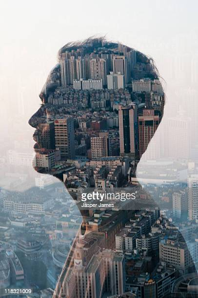 man and cityscape,double exposure