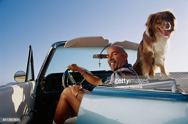 Man and Dog in Car