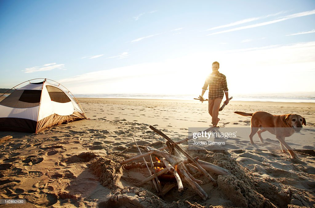 Man and his dog camping on the beach. : Stock Photo
