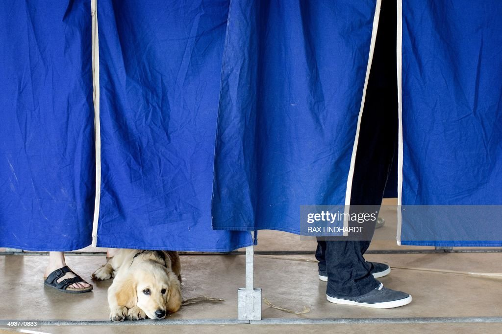 A man (hidden) and his dog stand behind a curtain in a polling booth during the European Parliament election in Copenhagen, Denmark on May 25, 2014.