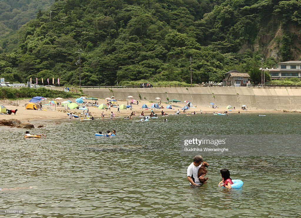 A man and his pet dog bathe in the water at Takeno Beach on August 4, 2013 in Toyooka, Japan. This beach is open for dogs and their owners every summer between the months of June and September. .