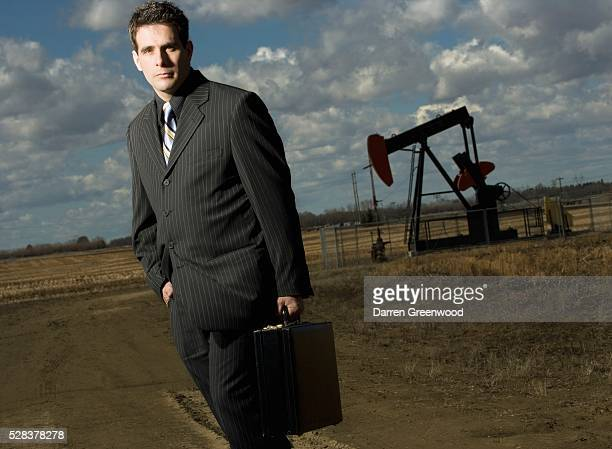 Man and oil rig