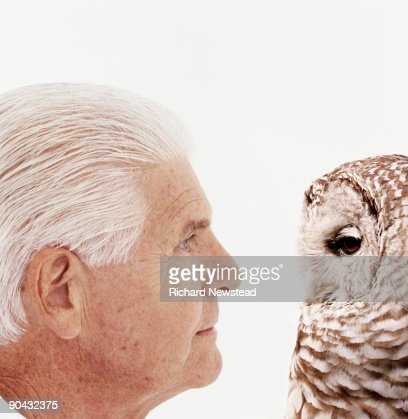 Man and Owl : Stock Photo
