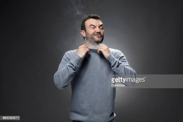 Man and Smoke fragments on a black background