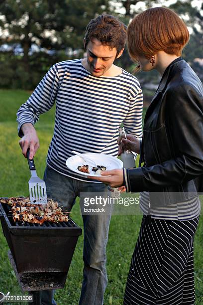 Man and Woman Barbecuing, Barbecue