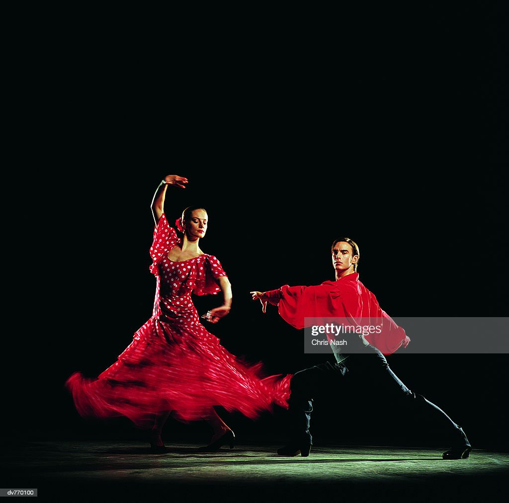 man and woman dancing the flamenco stock photo getty images