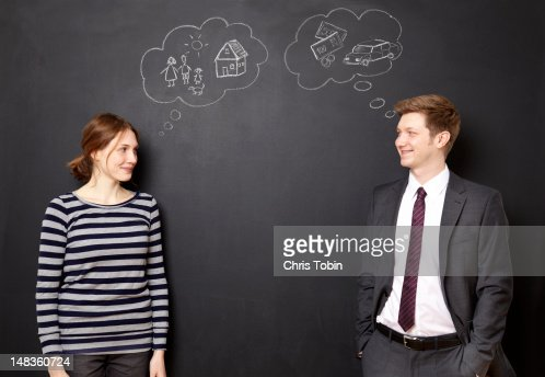 Man and woman dreaming about their future : Foto stock