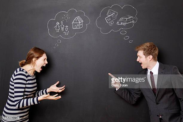 Man and woman fighting about their future
