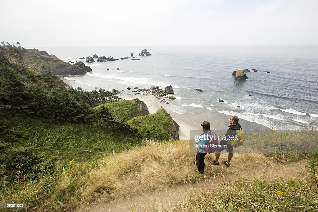 Man and woman hiking.