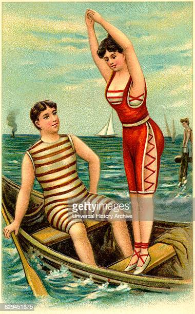 Man and Woman in Bathing Suits in Rowboat Illustration Postcard circa early 1900's