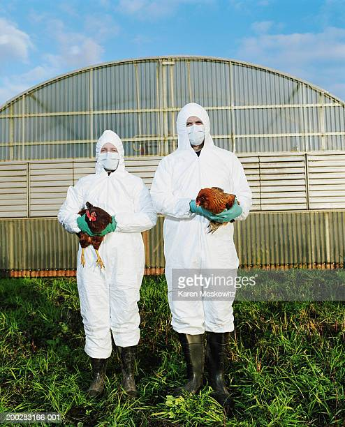 Man and woman in clean suits holding chickens on farm, portrait