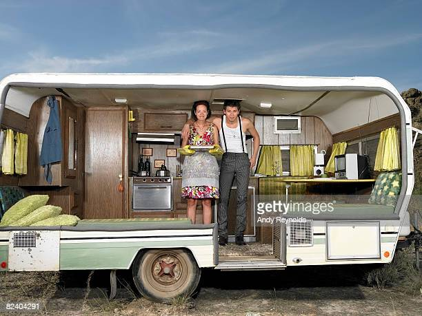 man and woman in trailer
