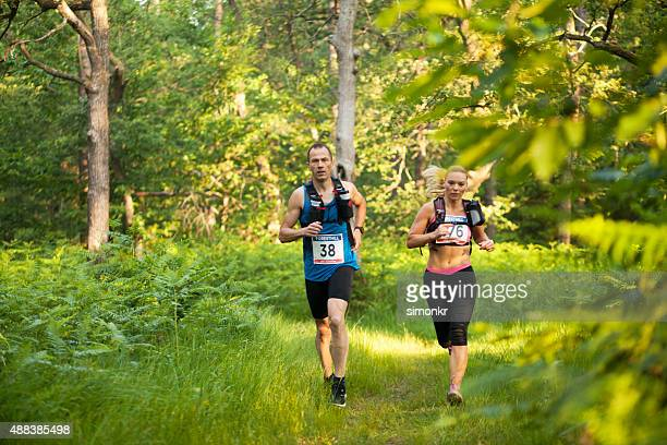 Man and woman in ultramarathon race