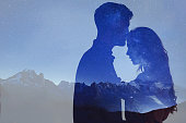 man and woman love, double exposure of couple, psychology of relationships