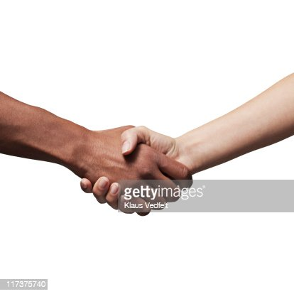 Man and woman making handshake