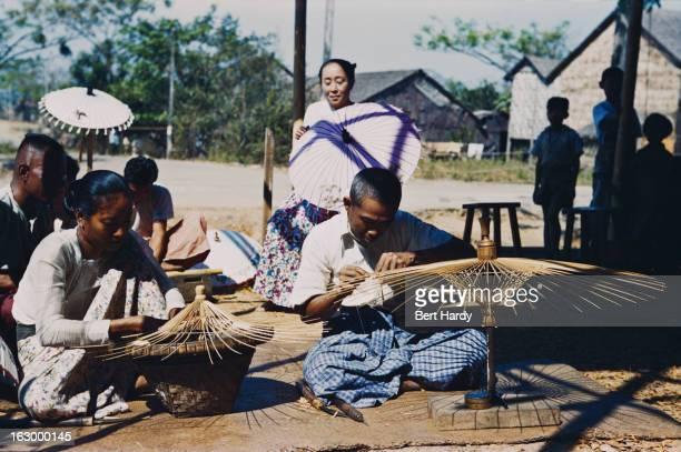 A man and woman making parasols Myanmar circa 1950 Original publication Picture Post 4748 Burma